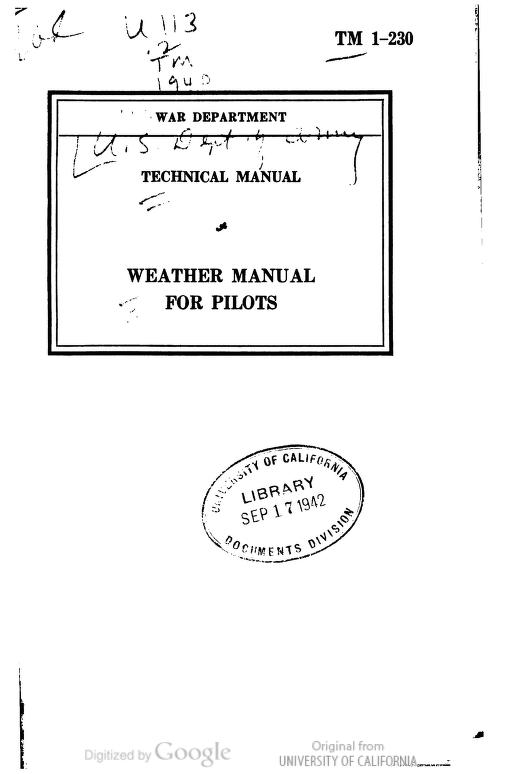 United States. War Department - TM 1-230 Weather Manual For Pilots
