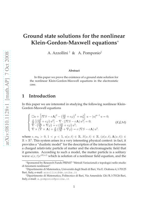 Antonio Azzollini - Ground state solutions for the nonlinear Klein-Gordon-Maxwell equations