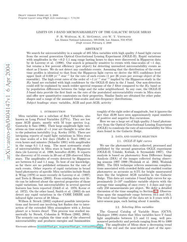 P. R. Wozniak - Limits on I-band microvariability of the Galactic Bulge Miras
