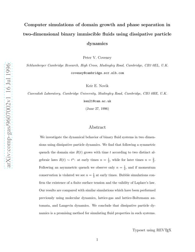 Peter V. Coveney - Computer simulations of domain growth and phase separation in two-dimensional binary immiscible fluids using dissipative particle dynamics